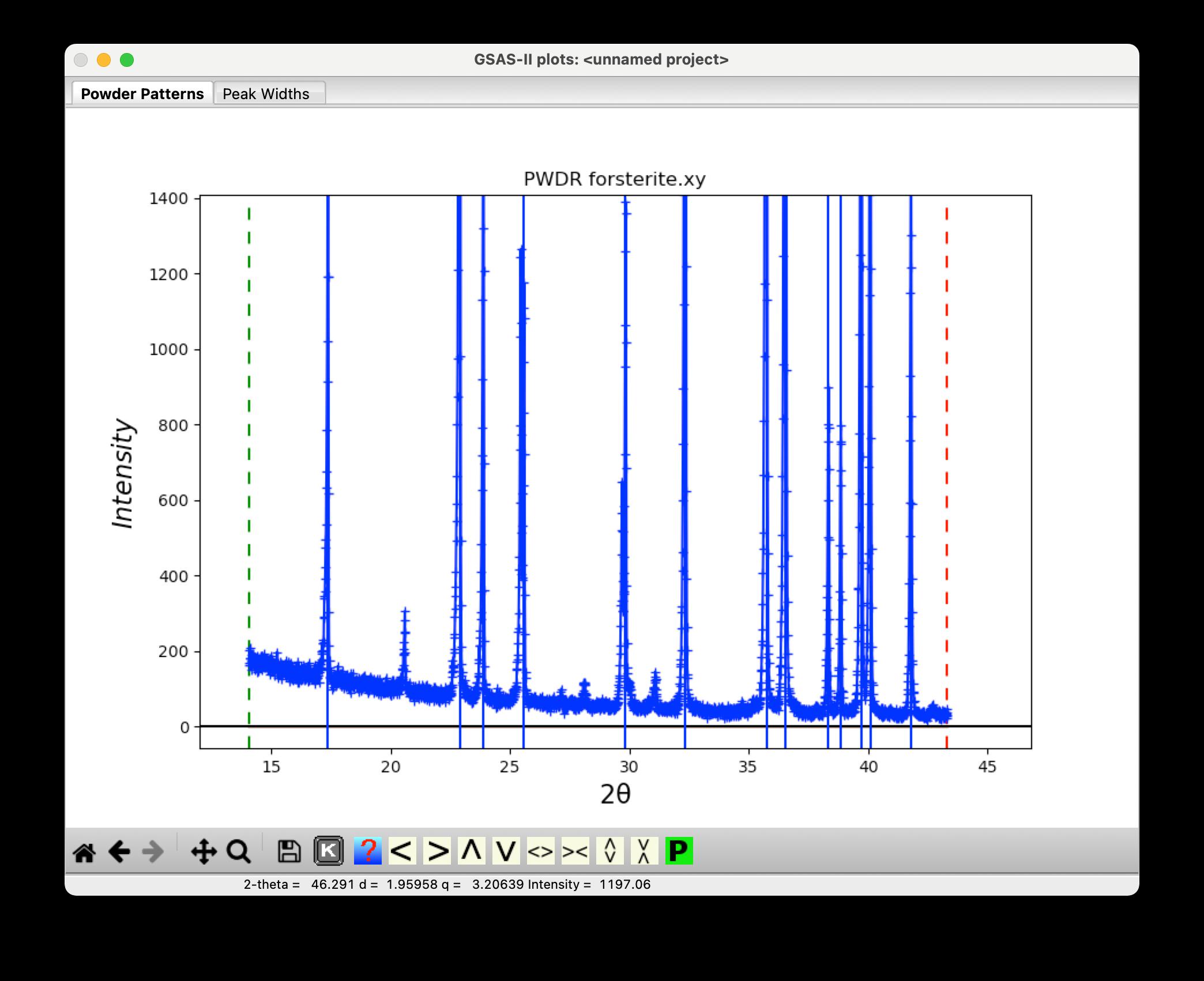 GSAS2-found-peaks-pattern.png